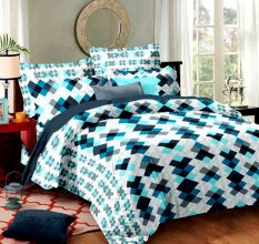Living Concept Cotton Blue Geometric Print Double Bed Bed sheet With 2 Pillow Covers