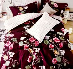 Living Concept Maroon Micro Fabric Double Floral Bed sheet with 2 Pillow Covers