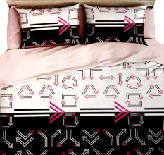 White Arrow Design Micro Fabric Double Floral Bed sheet with 2 Pillow Covers