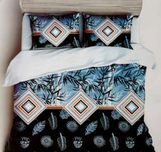 Blue Leaves Micro Fabric Double Bed Sheet With 2 Pillow Covers