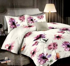 Living Concept Micro Fabric Floral White Double Bedsheet with 2 Pillow Covers