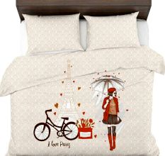 Hand Painted Girl With Umbrella Love Paris Bicycle Micro Fabric Double Bed sheet With 2 Pillows