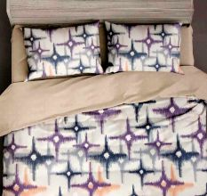 White Tie And Dye Design Micro Fabric Double Bed sheet with 2 Pillow Covers