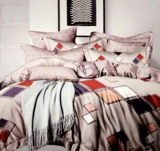 Grey Geometric Print Micro Fabric  Double Bed sheet with 2 Pillow Cover