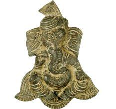 Handmade Yellow Grey Wooden Pagdi Ganesh Wall Hanging