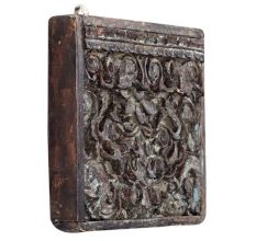 Hand Carved White And Brown Square Wood Wall Art With Floral Pattern