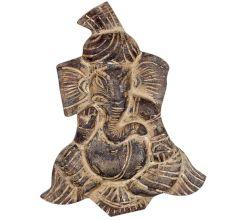 Handmade Grey Wooden Pagdi Ganesh Wall Hanging
