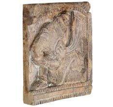 Hand Carved Dark Brown Wood Abstract Decorative Wall Art Panel